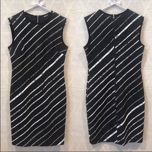 DKNY sleeveless pencil black white striped dress